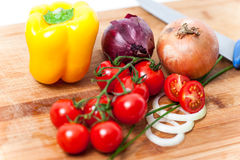 Fresh vegetables. Collection of fresh vegetables on white background Stock Photography