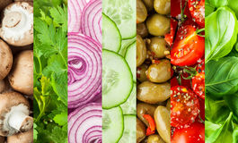 Fresh vegetables in a colorful collage background. For food or salad concepts with mushrooms, parsley, onion, cucumber, olives, tomato and basil in vertical stock images
