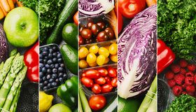 Fresh vegetables colorful collage stock photo