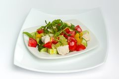 Fresh vegetables and cooked chicken Royalty Free Stock Photos