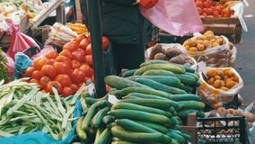 Fresh vegetables on the Counter in the Store. Showcase Vegetables. Counter with vegetables on the food market. Spontaneous market in the street in the city stock footage
