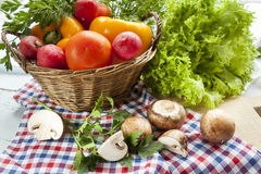 Fresh vegetables covered with water drops in basket. Stock Photography