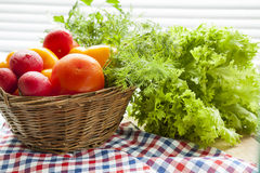 Fresh vegetables covered with water drops in basket. Stock Image