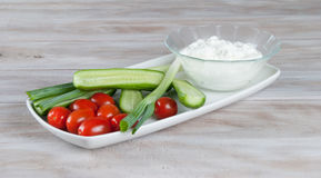 Fresh vegetables with creamy cfttage cheese Stock Images