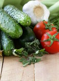 Fresh vegetables cucumber, tomato Royalty Free Stock Photo