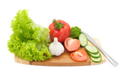 Fresh vegetables on a cutting board Royalty Free Stock Image