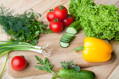 Fresh vegetables on cutting board. Fresh vegetables, herbs and spices on a cutting board Stock Image