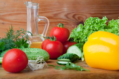 Fresh vegetables on cutting board. Royalty Free Stock Images