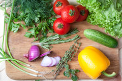 Fresh vegetables on cutting board. Fresh vegetables, herbs and spices on a cutting board Royalty Free Stock Photography