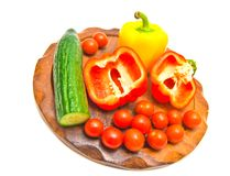 Fresh vegetables on a cutting board. close-up Stock Photography