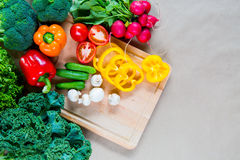 Fresh vegetables on a cutting board. Healthy Ingredients for vegetarian breakfast Royalty Free Stock Photography