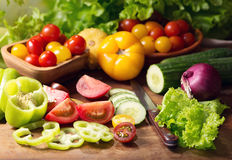 Fresh vegetables on cutting board Stock Images