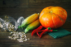 Fresh vegetables on a dark table. Autumn background. Healthy eating. Pumpkin, bell peppers, paprika, tomatoes, sunflower Royalty Free Stock Photography