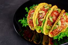 Fresh vegetables on a delicious tacos on black plate on wooden background royalty free stock image