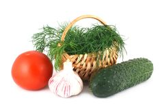 Fresh vegetables and dill in a basket Stock Photo