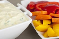 Fresh Vegetables and Dip Royalty Free Stock Photos