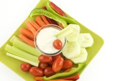 Fresh Vegetables with Dip Royalty Free Stock Photography