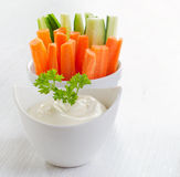 Fresh vegetables with dip Stock Photos