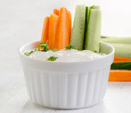 Fresh vegetables with dip Stock Photography