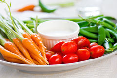 Fresh vegetables with dipping sauce Royalty Free Stock Images