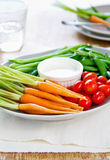 Fresh vegetables with dipping sauce Royalty Free Stock Photography