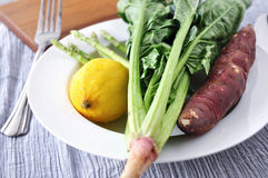 Fresh Vegetables on Dish Royalty Free Stock Photography