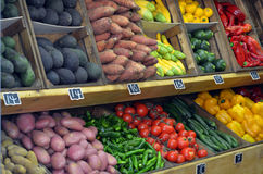 Fresh vegetables on display in farmers market Royalty Free Stock Image