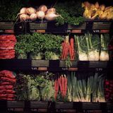 Fresh vegetables. Fresh vegetables on display in a supermarket Stock Photo