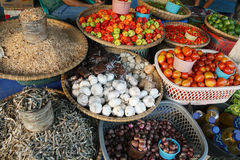 Fresh vegetables and dry fish at a market Royalty Free Stock Photography