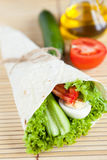 Fresh vegetables with egg in tortilla Royalty Free Stock Photos