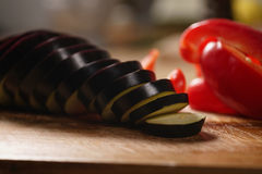 Fresh vegetables, eggplant and bell pepper. Raw vegetables for grill Royalty Free Stock Photos