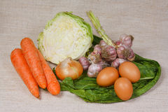 The fresh vegetables and eggs from kitch. The different fresh vegetables and eggs from kitchen garden Stock Photos