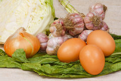 The fresh vegetables and eggs from kitch. The different fresh vegetables and eggs from kitchen garden Royalty Free Stock Images