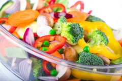 Fresh vegetables in electric food steamer Royalty Free Stock Photography