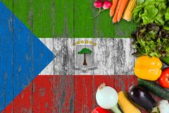 Fresh vegetables from Equatorial Guinea on table. Cooking concept on wooden flag background.  stock images