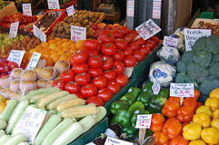 Fresh vegetables of every color on sale Royalty Free Stock Photography