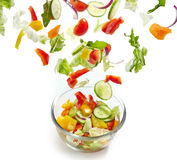 Fresh vegetables falling into the glass bowl Stock Image