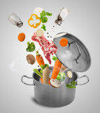 Fresh vegetables falling into stainless steel pot. Royalty Free Stock Photos