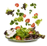 Fresh vegetables falling into tho bowl Royalty Free Stock Photos