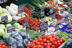 Fresh vegetables on a farmers market Royalty Free Stock Images