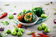 Fresh vegetables flatlay stock photo