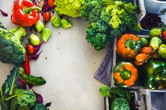 Fresh vegetables flatlay royalty free stock images