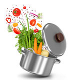Fresh vegetables flying in a pot Stock Photos