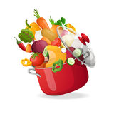 Fresh vegetables flying in a pot on an  white background. Vector illustration. Stock Images
