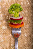 Fresh vegetables on a fork  on background Stock Image