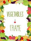 Fresh vegetables frame. Healthy food  illustration Royalty Free Stock Image