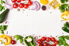 Fresh Vegetables frame with place for text. Healthy food or diet concept.  royalty free stock images