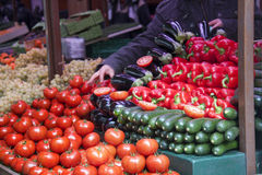 Fresh vegetables in a french market. Fresh and organic vegetables at french  farmers market Royalty Free Stock Image