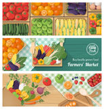Fresh vegetables. Freshly harvested vegetables banner set, farmers market, retail and food preparation at home with vegetables and fruits stock illustration