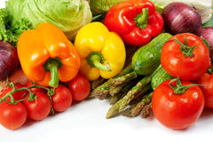 Fresh Vegetables. Freshly harvested vegetables on white background Stock Photography